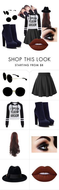 """""""Black, Black, but Mostly Black"""" by megancorinne on Polyvore featuring Miu Miu, Casadei, Gucci and Lime Crime"""
