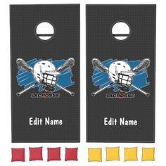 Teen Wolf Lacrosse, Cross Beam, Lacrosse Sticks, La Crosse, Cornhole Set, School Colors, Epic Games, Board Games, Custom Design