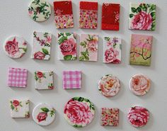 decoupage magnets     directions here: http://www.ihanna.nu/blog/2008/03/decoupage-magnets-on-chip-board/