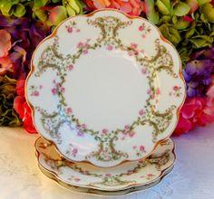 3 Antique Haviland Limoges Porcelain Plates ~ Roses ~ Scrolls ~ Gold Gild