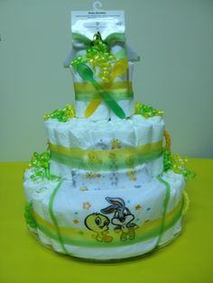 Looney Tunes Diaper Cake!  Great as a gift for any baby shower!