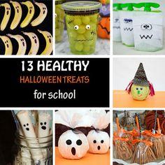 13 Healthy Halloween treats for school: bananas, oranges, cheese, apples disguised as mummies, Jack-O-Lantern or Frankenstein. Kids will love them!