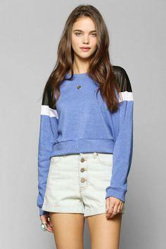 Sparkle & Fade Sport Mesh-Shoulder Pullover Sweatshirt #urbanoutfitters