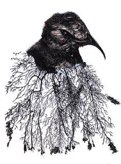 """Cry"" in 2008 by Heather Shimmen. Linocut print on paper and organza. Linocut Prints, Art Prints, Mc Escher, Australian Art, Wood Engraving, Artist At Work, Illusions, Art Gallery, Illustration Art"