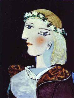 "artist-picasso: ""Portrait of Marie-Thérèse Walter with garland, Pablo Picasso Medium: oil,canvas"" Kunst Picasso, Art Picasso, Picasso Paintings, Spanish Painters, Spanish Artists, Portrait Picasso, Oil Canvas, Cubist Movement, Dora Maar"