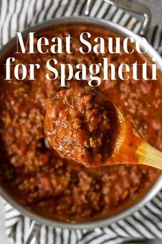 Recipes With Jar Sauce, Meat Sauce Recipes, Beef Recipes, Snack Recipes, Copycat Recipes, Pasta Recipes, Spaghetti Meat Sauce, Homemade Spaghetti Sauce, Homemade Marinara