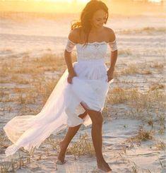 WOMENS BEACH WEDDING DRESS. BRIDAL GOWN. SIZES 2-16. HANDMADE.  | eBay