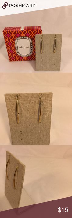 """Stella & Dot Slender Gold Arc Earrings Gold Stella & Dot slender gold pierced earrings approximately 1 1/2"""" long; slightly curved see pictures.  I am selling these items to help my daughter, a part-time S&D stylist, who is on sabbatical from teaching, fund her foreign travels. Some of these may have been previous worn or tried on at trunk shows. I have tried to describe any wear or issues noted.  All items will be shipped in a Stella and Dot box but name on box may not match name of item…"""