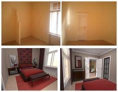 designer notebook: Belvárosi, polgári lakás tervei, decor for room with high ceiling, red, brown, white