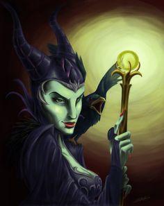 Maleficent [feat. Diablo] (Drawing by Claire-Lacaes @deviantART) #SleepingBeauty