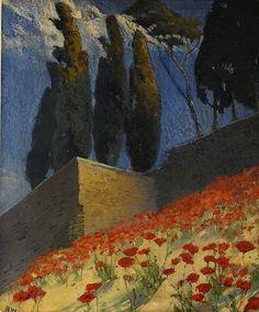 Alf Wallander (sueco, 1862-1914), Vallmosluttning, Sydfrankrike (não datado). Óleo sobre painel, 25 x 21 cm. via