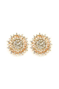 Gold Crystal Cluster Earrings.
