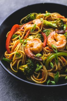 Better than takeout and just as fast: Shrimp 'n Broccoli Lo Mein. The tasty sauce has loads of flavor from soy sauce, brown sugar, and sesame oil.
