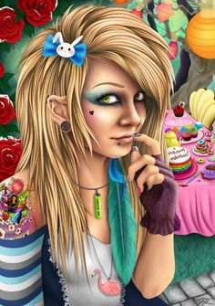 So this was my sisters Christmas present I did a portrait of her with an alice in wonderland theme with her as alice of coarse A lot of detail went into. Alice in Wonderland Emo Disney, Dark Disney, Disney Stuff, Lewis Carroll, Trendy Wallpaper, Wallpaper Backgrounds, Wallpapers, Cartoon Kids, Cute Cartoon