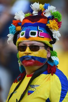 An Ecuador fan enjoys the atmosphere prior to the match between Ecuador and France at Maracana on June 25, 2014 in Rio de Janeiro, Brazil.  #cdm2014 #worldcup2014 #football #WorldCup2014Brazil #soccer #fans #photography