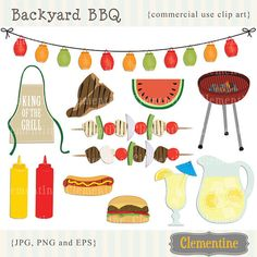 BBQ clip art images with vector EPS, picnic clip art, barbecue clip art, royalty free- Instant Download on Etsy, $5.00