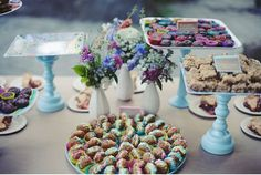 DIY Wedding Reception dessert table (after meal of homemade picnic basket goodies for guests)