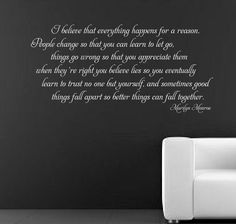 MARILYN MONROE I BELIEVE- wall Sticker Mural Decal quote art rc-50 | eBay