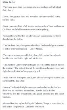 Facts about Gettysburg