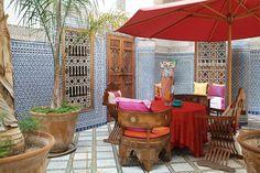 beautiful Moroccan courtyard in Marrakech