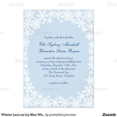 Winter Lace Snowflakes on Icy Blue Winter Wedding Invitation