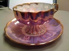 Vintage Royal Sealy gold gilt China footed Tea Cup and Saucer Iridescent Lavend