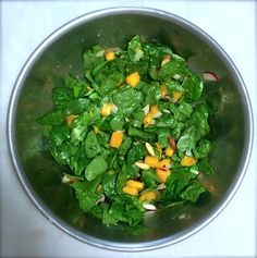 Grilled Mango and Baby Spinach Salad