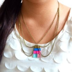 Neon Chain Collar Necklace and Fringe Pendant