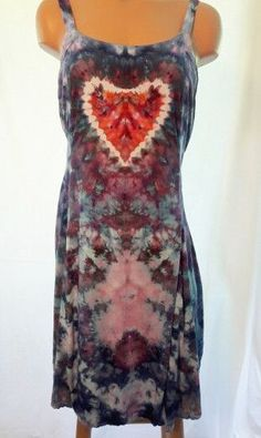 Ice Dyed Flirty Rayon Spaghetti Strap Dress With Heart Size Medium