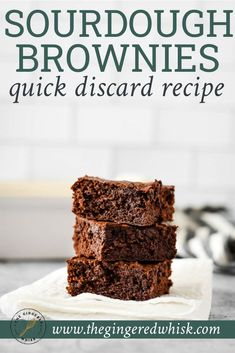 Sourdough brownies are an ultra fudgey, and rich and delicious dessert that uses your sourdough discard. They are easy and quick to make, so you can enjoy them whenever you have sourdough discard to use. A great recipe to use your sourdough starter! Dough Starter Recipe, Sourdough Starter Discard Recipe, Bread Starter, Sourdough Recipes, Starter Recipes, Sourdough Bread, Sourdough Pancakes, Köstliche Desserts, Delicious Desserts