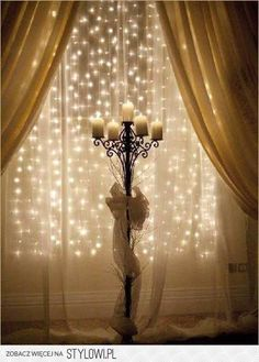 sheer backdrop with candles