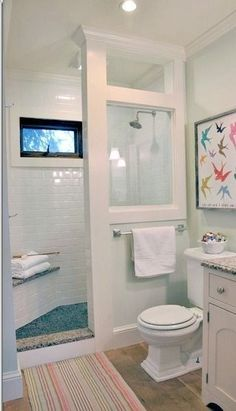 Before and After Farmhouse Bathroom Remodel 2019 LOVE this idea! Doorless shower modern farmhouse cottage chic love this shower for a small bathroom The post Before and After Farmhouse Bathroom Remodel 2019 appeared first on Shower Diy. Beautiful Bathrooms, Modern Bathroom, Bathroom Small, Shower Bathroom, Downstairs Bathroom, Shower Window, Tiny Bathrooms, Shower Floor, White Bathroom