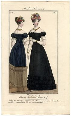 A black velvet dress, which may not be for mourning, as she has colourful flowers in her hair. 1823 L'Indiscret