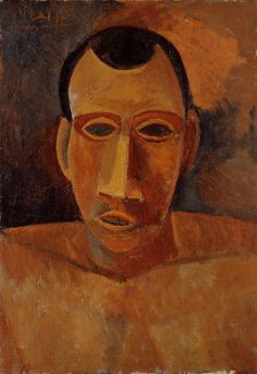 peinture espagnole : Pablo Picasso, 1907, portrait d'homme, 1900s, brun