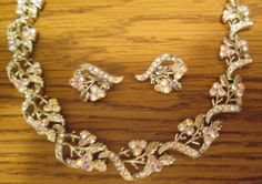 Vintage Coro Aurora Borealis Swirl Leaf Necklace and Clip Earrings for Wedding/Prom/Special Occasion with Free Shipping