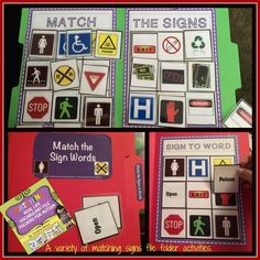 14 file folder matching activities using clip art and real photos for functional activities like matching signs, grocery items, and clothing. $3.50