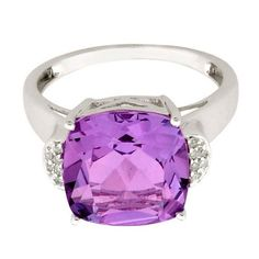 Amethyst 7.25 Carat & White Topaz  Ring in 925 Sterling Silver Jewelry