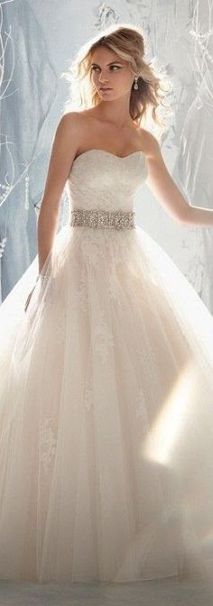 White crystal-belted wedding gown #weddingdress
