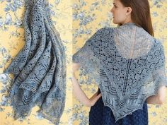 Thin Lace Shawl Women Ladies Hand Knitted Wool Blend