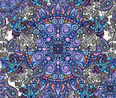 Estampa Mística. Desenvolvida para Estamparia Marles. Totalmente desenhada e colorida manualmente com canetinha preta e lápis de cor.