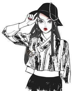 주렁주렁충 어디 안간다#낙서#illustration#ink#sketch#drawing #イラスト#black#그림#일러스트#painting#hat#cap#한복#생활한복