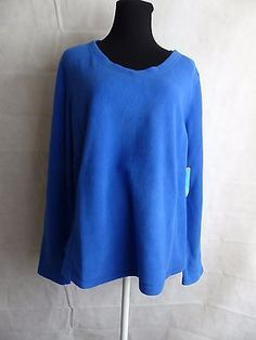 be inspired Fleece V Neck Pullover Top Blue Size XL  NWT  MRSP $30.