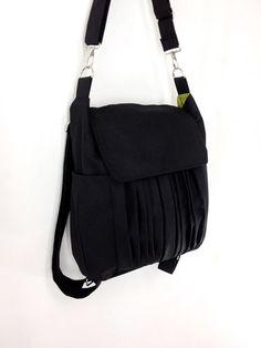 0b7ab12ef SALE - 10%off Handmade Canvas Bag/ diaper bag/ Shoulder bag/ Hobo bag/ Tote  bag/ Messenger/ Purse/ Backpack/ Everyday bag - Black - Zinnia