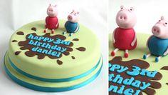 Peppa Pig and George Pig Muddy Puddle cake
