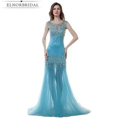 Cheap robe de soiree, Buy Quality formal evening gowns directly from China evening gown Suppliers: H&S BRIDAL Crystal Sparkly formal evening gown Sheer Neck Tulle Mermaid Sexy Evening Dresses Blue prom dress 2017 robe de soiree Prom Dresses 2017, Mermaid Prom Dresses, Cheap Prom Dresses, Sexy Dresses, Prom Gowns, Sexy Evening Dress, Evening Dresses Plus Size, Evening Gowns, Evening Party