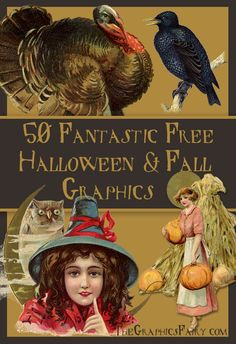 50 Fantastic Halloween and Fall Graphics! Great for making your own Printables, Cards, or Craft Projects!