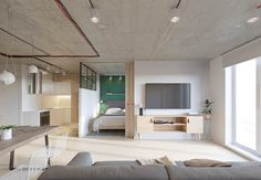 Industrial interiors are known for concrete floors and wooden walls. What happens if you invert the structure, and throw a few specific Pantones in? This Penza,