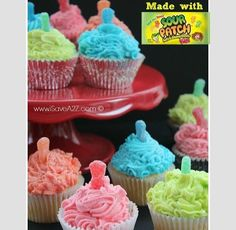 Sour patch kids cupcakes❤