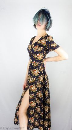1990s Grunge Floral Print Dress with Slits Sz S by KroweNYC, $62.00
