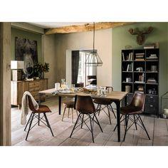 Solid mango wood dining table L180 Metropolis | Maisons du Monde Mango Wood Dining Table, Furniture Dining Table, Mango Wood Furniture, Affordable Furniture, Home Decor, Decoration Home, Room Decor, Interior Decorating